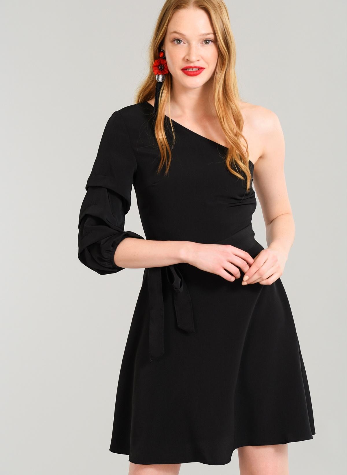 4bb2ea33f9387 People By Fabrika Kadın Tek Omuz Elbise Siyah 36 Beden 18YEL022 Ürün Resmi